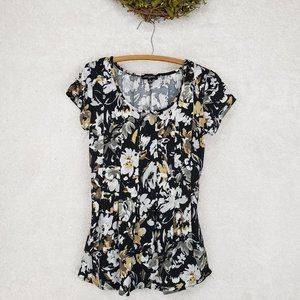 Notations Black Pleated Floral Print Top | Size PS